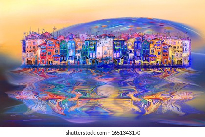 Reflection of a cozy street of an island city against the backdrop of a sunrise of a blue psychedelic moon. Artwork.