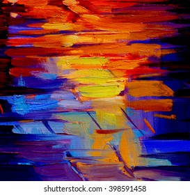 reflection of light on a roadway during a rain, abstract painting by oil on a canvas, illustration