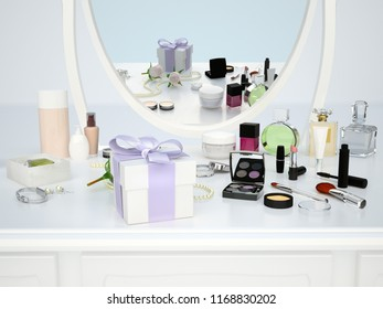 The reflection in the mirror. Gift box, cosmetics and fashion accessories are located on the dressing table. 3D illustration