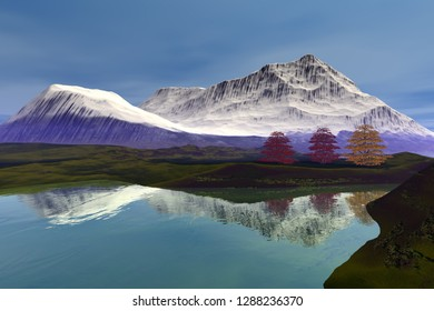 Reflection on the lake, 3d rendering, an autumn landscape, beautiful trees, snowy mountain and a blue sky.