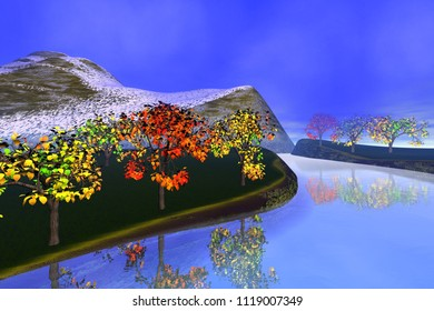 Reflection on the river, 3d rendering, a autumn landscape, trees with red and yellow leaves, snowy mountain and a blue sky.
