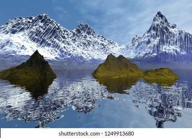 Reflection on water, 3d rendering, a natural landscape, two small islands in the sea, snow on the mountain peaks,  and a blue sky.
