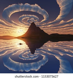 Reflection of spiral clouds over mountain peak, 3d illustration