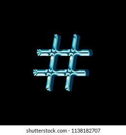 Reflective blue glass hashtag social media icon or pound sign symbol with a bright shiny light style and smooth glassy surface in a classic font isolated on a black background with clipping path