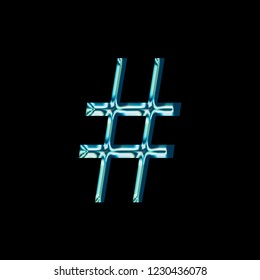 Reflective blue glass hashtag social media icon or pound sign symbol with a bright shiny light style and smooth glassy surface in a libertine font isolated on a black background with clipping path