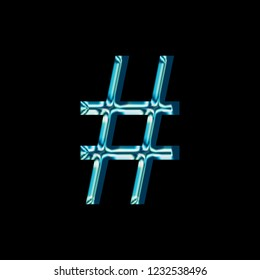 Reflective blue glass hashtag social media icon or pound sign symbol with a bright shiny light style and smooth glassy surface in a blocky font isolated on a black background with clipping path