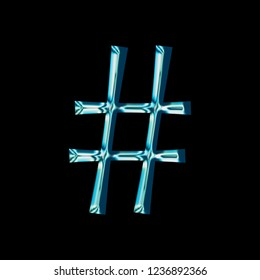 Reflective blue glass hashtag social media icon or pound sign symbol with a bright shiny light style and smooth glassy surface in a fun curly font isolated on a black background with clipping path