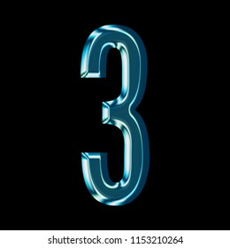 Reflective blue glass number three 3 with a bright shiny light style and smooth glassy surface in a gothic font isolated on a black background with clipping path