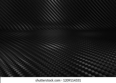 Reflective Carbon fiber background composite. Carbon fibre smooth texture. 3D illustration