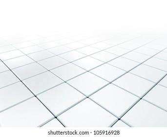 Reflective floor metal square texture