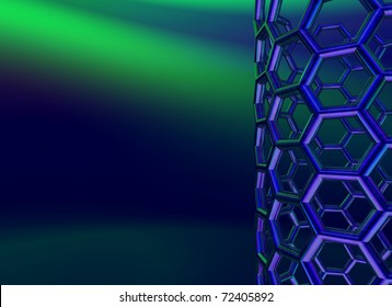 reflective nanotube structure on blue background