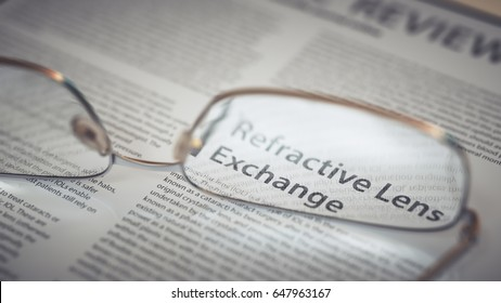 Refractive Lens Exchange Article Title Highlighted Through Eyeglasses Closeup. Vision Surgery Concept 3d Illustration