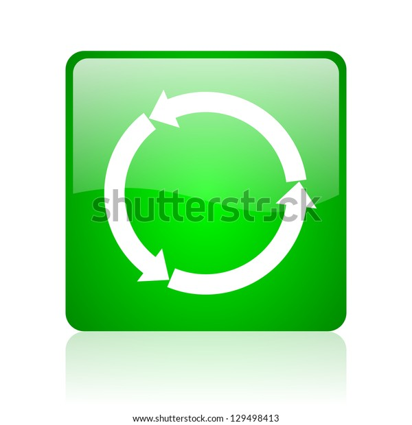 refresh green square web icon on white background