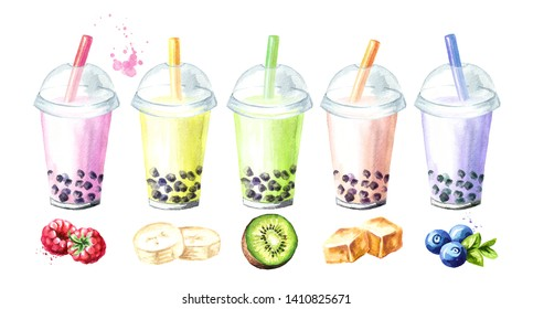 Refreshing fruit milky bubble boba tea flavors with tapioca pearls. Food concept. Watercolor hand drawn illustration, isolated on white background