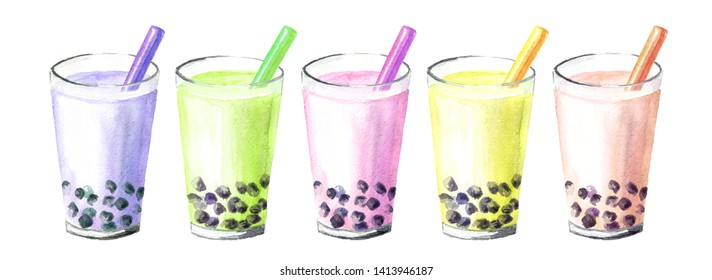 Refreshing fruit milky bubble boba tea with tapioca pearls. Food concept. Watercolor hand drawn illustration, isolated on white background