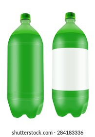 Refreshing green soda drink in two liter plastic bottles isolated on white background. Highly detailed illustration.
