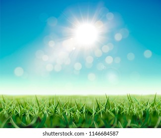 Refreshing nature background with shiny sunlight and green grassland in 3d illustration