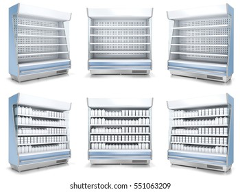 Refrigerated display cases with the goods and empty. A set of 3D images