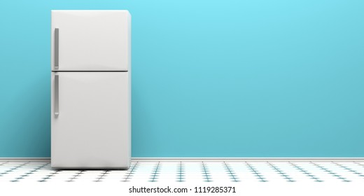 Refrigerator, fridge on kitchen tiled floor, blue wall background, copy space. 3d illustration