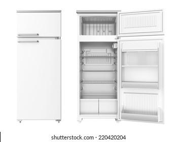 Refrigerator on white background. 3D image