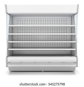 Refrigerator showcase for supermarket. Blank, white, open. 3d image. Isolated on white.