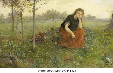 Refugee, by John Macallan Swan, c. 1870-1910, English painting, oil on canvas. Young woman sitting on a rock beside her bundle of belongings