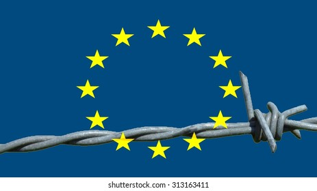Refugee drama: Fortress Europe On the European flag is a piece of barbed wire in the lower part.