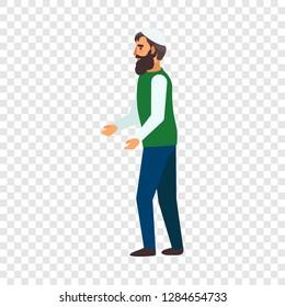 Refugee man hopeless icon. Flat illustration of refugee man hopeless icon for web design