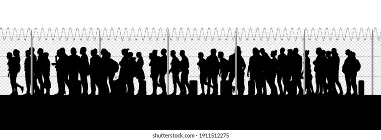 Refugees and immigrants looking for a new life. Column of migrants near the state borders. Fence and barbed wire. Surveillance. Silhouette. Abandon their lands for a better future. 3d render