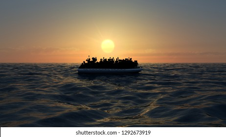 Refugees on a big rubber boat in the middle of the sea that require help. Sea with people in the water asking for help. Migrants crossing the sea. 3d rendering