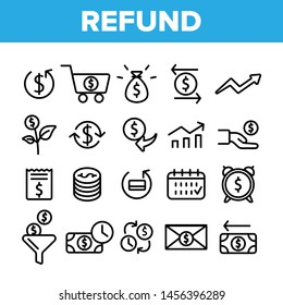 Refund, E-payment System Linear Icons Set. Internet Order Refund, Online Money Transaction Outline Symbols Pack. Banking And Finance. E-Commerce, Cash Back Service Isolated Contour Illustration
