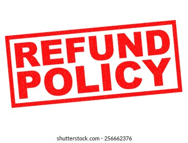 REFUND POLICY red Rubber Stamp over a white background.