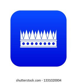 Regal crown icon digital blue for any design isolated on white illustration
