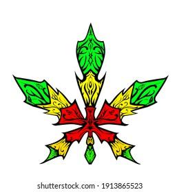reggae cannabies illustration icon logo design