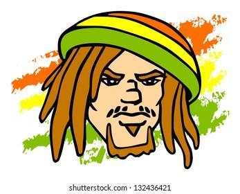 Reggae character. Portrait of Rastafarian. Raster version, vector file also included in the portfolio.