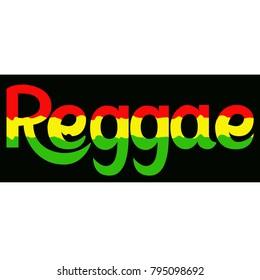 Reggae label. Lettering poster. Rastafarian colors background.