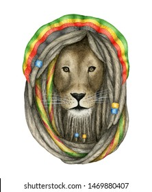 Reggae lion with rasta hair and hat watercolor illustration