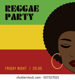 Reggae party event flyer. Creative vintage poster. retro style template. Front view portrait of a black woman face.