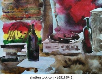 Reggae style interior, hand drawn watercolor illustration