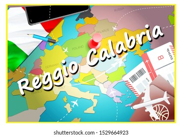Reggio Calabria city travel and tourism destination concept. Italy flag and Reggio Calabria city on map. Italy travel concept map background. Tickets Planes and flights to Reggio Calabria holidays