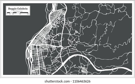 Reggio Calabria Italy City Map in Retro Style. Outline Map.