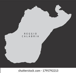 The Reggio Calabria province gray silhouette map isolated on dark background, Italy