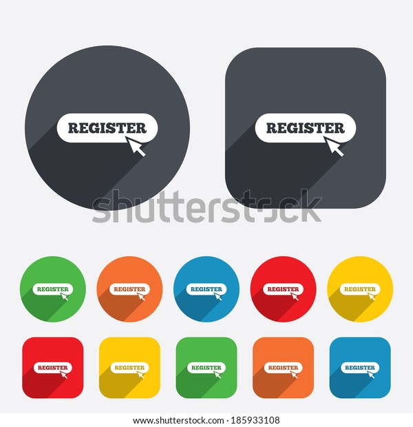Register with cursor pointer sign icon. Membership symbol. Website navigation. Circles and rounded squares 12 buttons.