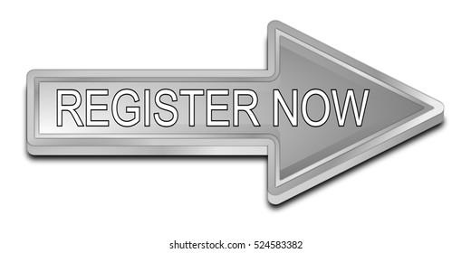 Register now arrow Button - 3D illustration