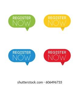 register now. set of business labels