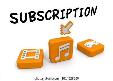 Register for a subscription service. Flat-rate business model. application. 3D rendering