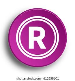 Registered mark icon. Internet button .3d illustration.