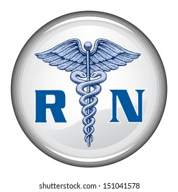 Registered Nurse Button is an illustration of a blue registered nurse medical symbol on a white button.