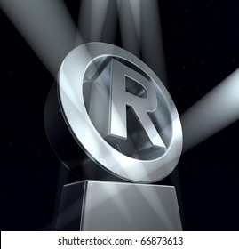 Registered trade mark Registered trade mark sign in silver on a silver pedestal