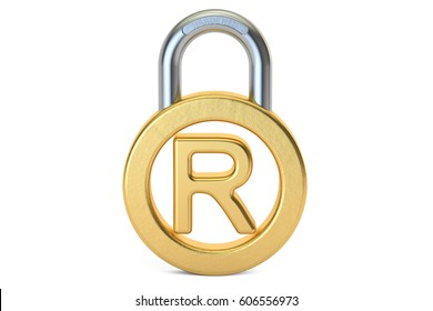 Registered Trademark concept with padlock, 3D rendering isolated on white background